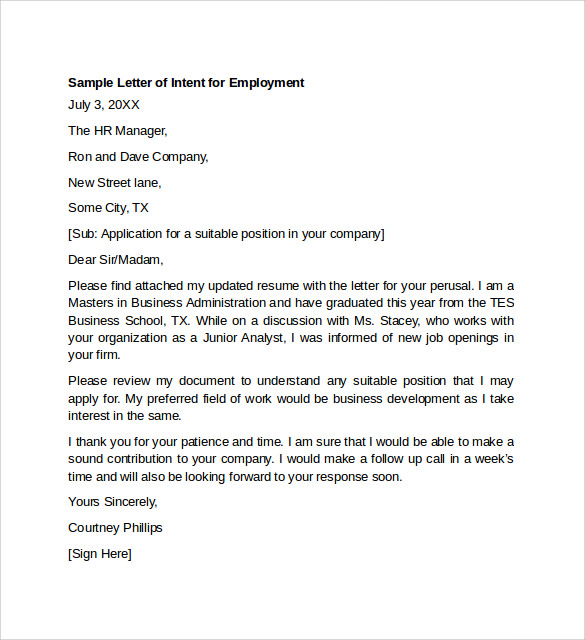 Employment Letter Sample 11 Examples in Word PDF – Sample Letter of Intent for a Job