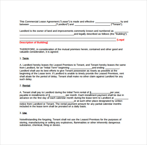 example commericial lease agreement