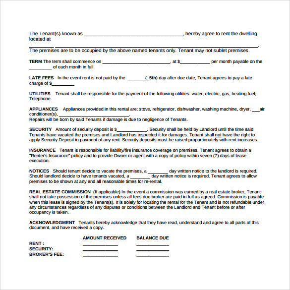Rental Lease Agreement Samples Examples Formats 8 Download – Sample Rental Lease Agreement