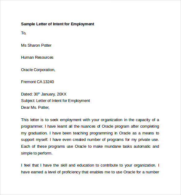 Sample Letter of Intent for Employment Templates - 7+ Download Free ...