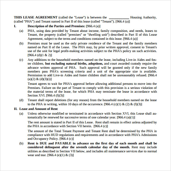 sample housing authority rental lease agreement
