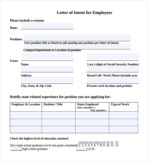 Sample Letter Of Intent For Employment Templates 7