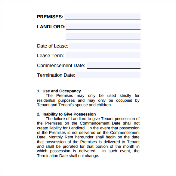 sample house rental lease agreement