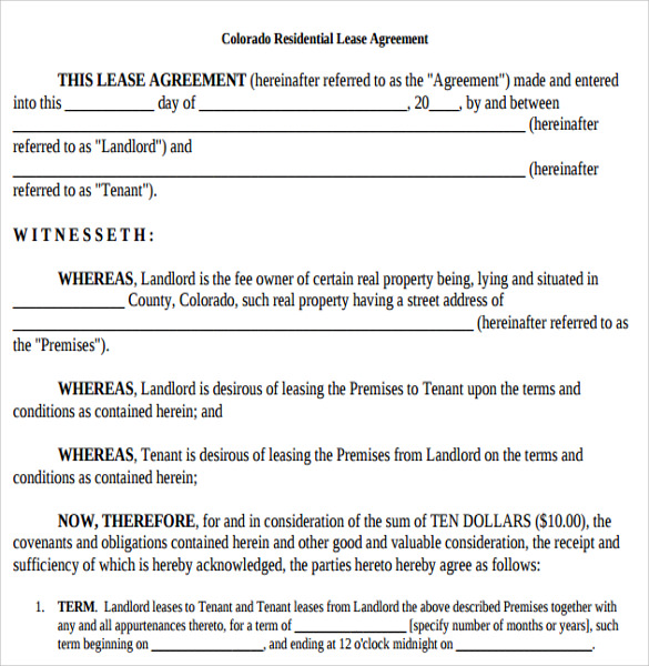 Printable Lease Agreement   Samples Examples  Format