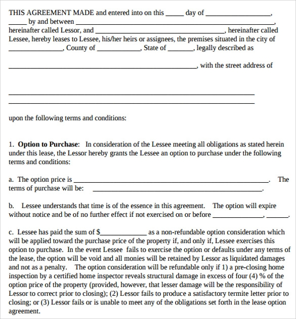 sample printable lease agreement