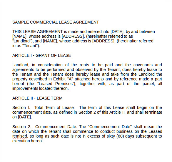 Sample Commercial Land Lease Agreement  Lease Contract Format