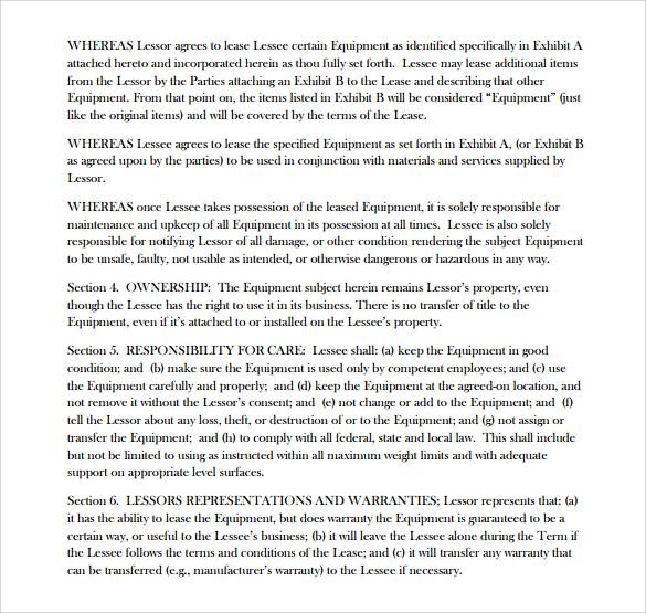 equipment lease agreement pdf