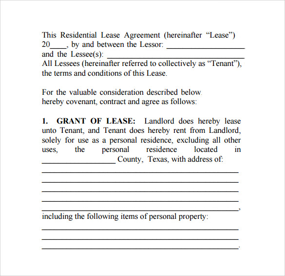 Sample Texas Residential Lease Agreement   Free Documents In