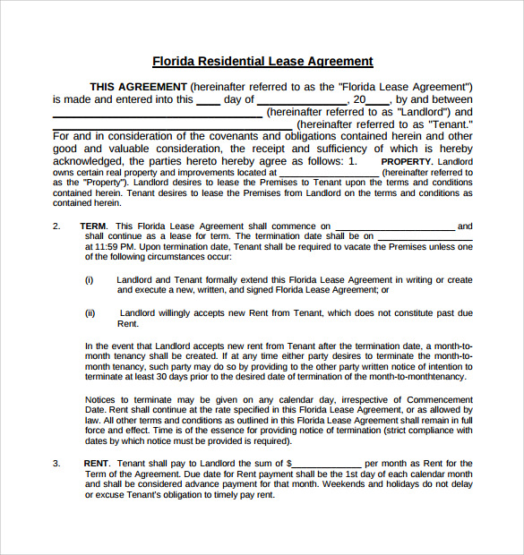 florida residential lease agreement