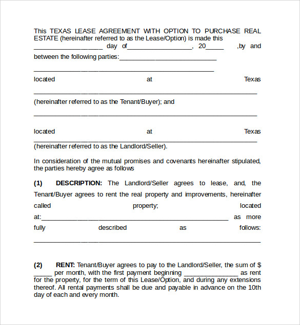 Sample Texas Residential Lease Agreement 12 Free Documents in – Sample Texas Lease Agreement