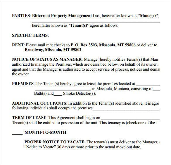 example of residential lease agreement