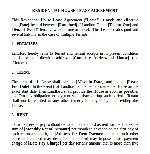 Residential Lease Agreements 10 Free Samples Examples Formats – House Lease Agreement