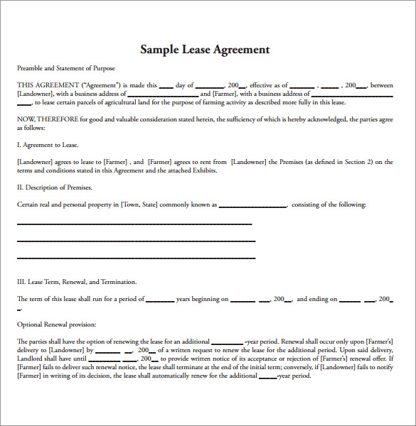 Sample Land Lease Agreement 10 Free Documents in PDF Word – Sample Pasture Lease Agreement Template