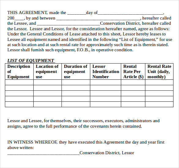 12 equipment lease agreement samples examples format for Equipment hire form template