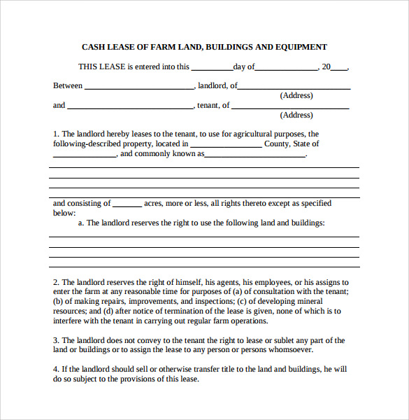 Land Lease Agreement Template. Sample Farm Land Lease Agreement