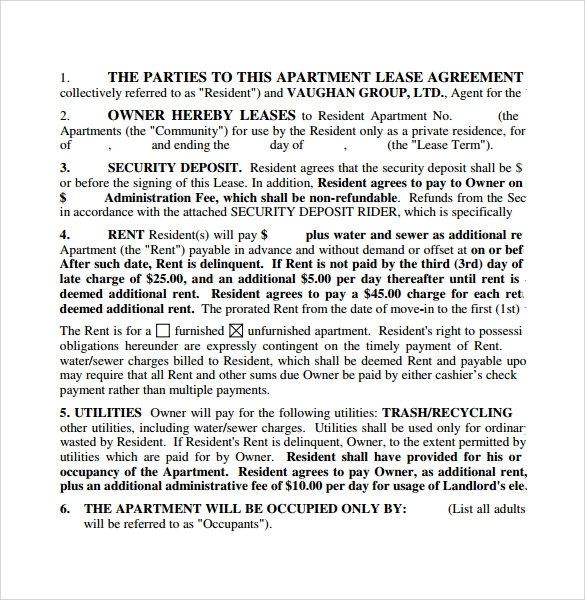 8 Apartment Lease Agreements Word Pdf Pages