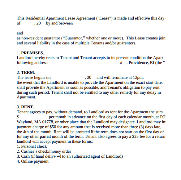 Apartment Lease Agreements 7 Free Samples Examples Formats – Sample Apartment Lease Agreement Template