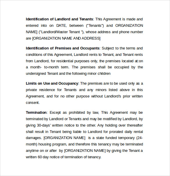 Sample Month To Month Lease Agreement  Free Documents In Word Pdf