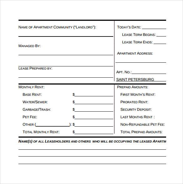 printable apartment lease agreement