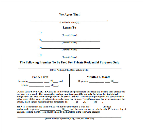 sample month to month lease agreement template1