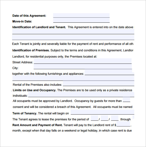 Sample Standard Lease Agreement   Free Documents In Word Pdf