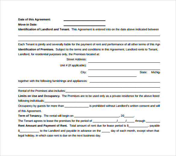 Doc403525 Sample Standard Lease Agreement Example Doc403525 – Sample Standard Lease Agreement Example