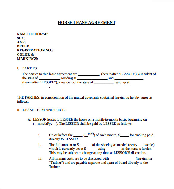 Sample Horse Lease Agreement 7 Free Documents in Word PDF – Sample Horse Lease Agreement Template