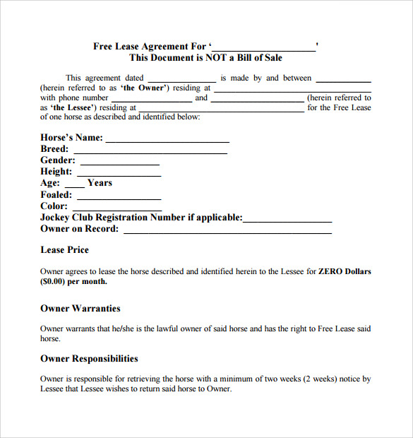 Sample Horse Lease Agreement - 7+ Free Documents In Word, Pdf