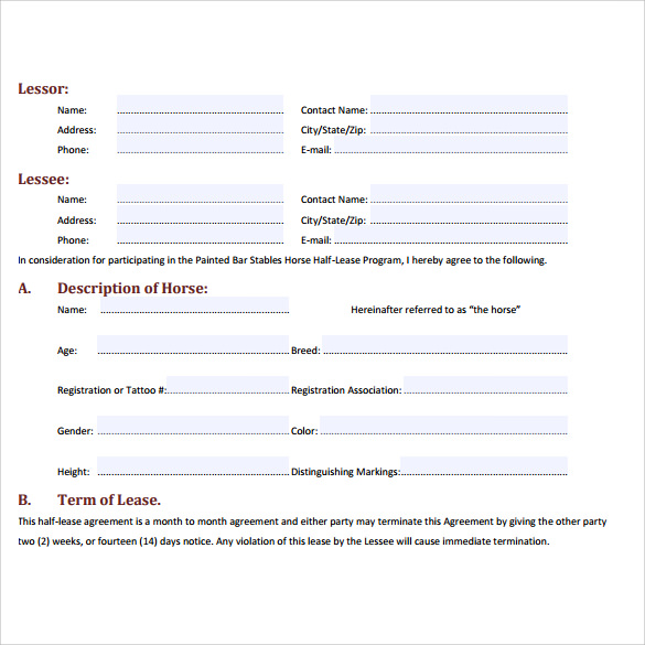 Sample Horse Lease Agreement   Free Documents In Word Pdf