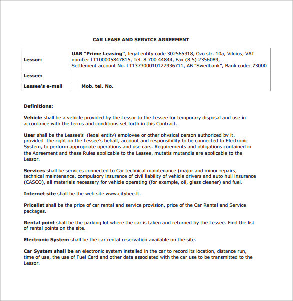 Sample Vehicle Lease Agreement Template 7 Free Documents In PDF – Sample Car Lease Agreement