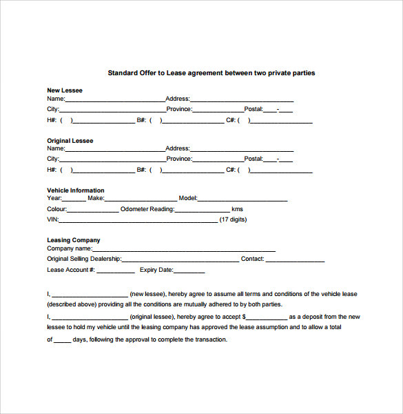 standard offer to lease agreement between two private parties