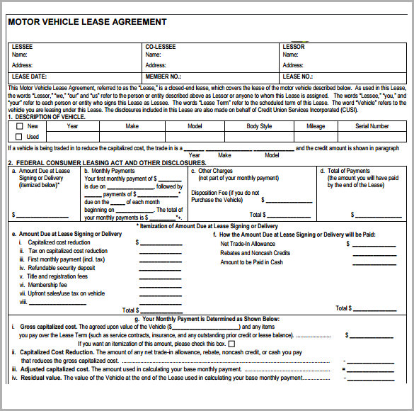 Sample Vehicle Lease Agreement Template 7 Free Documents In PDF – Leasing Agreement Sample