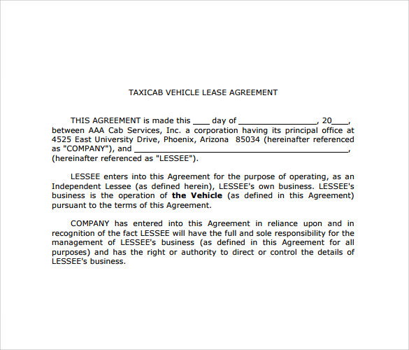 taxicab vehicle lease agreement11