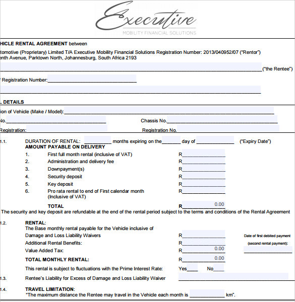 vehicle lease agreement excutive