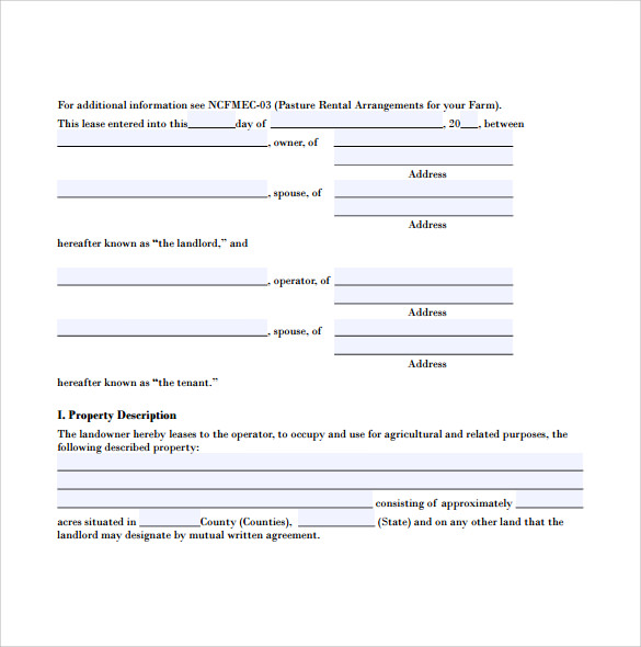 Sample Pasture Lease Agreement 5 Documents in PDF Word – Sample Pasture Lease Agreement Template