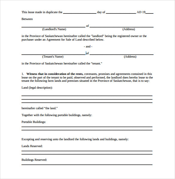 Sample Pasture Lease Agreement   Documents In Pdf Word