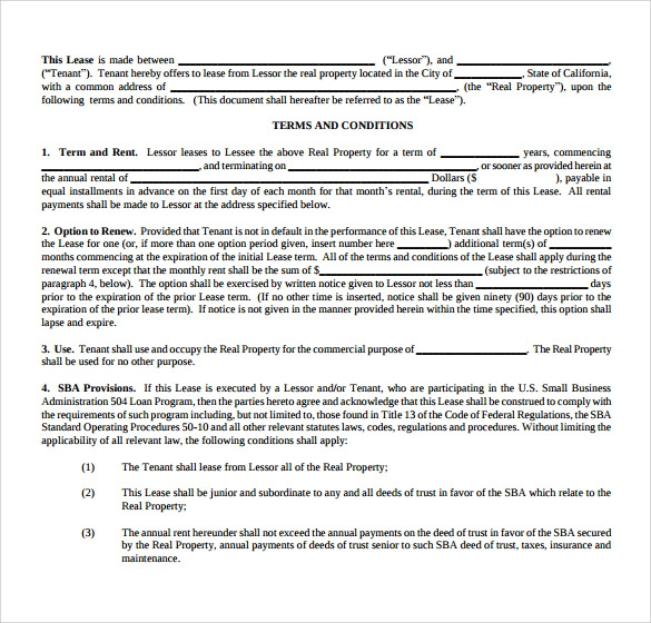 Office Lease Agreement Templates  Free Sample Example Format