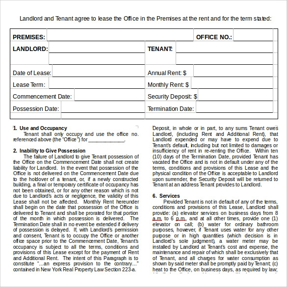 office lease agreement doc