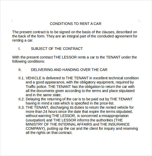 Sample Car Lease Agreement 6 Free Documents Download in PDF Word – Car Lease Form