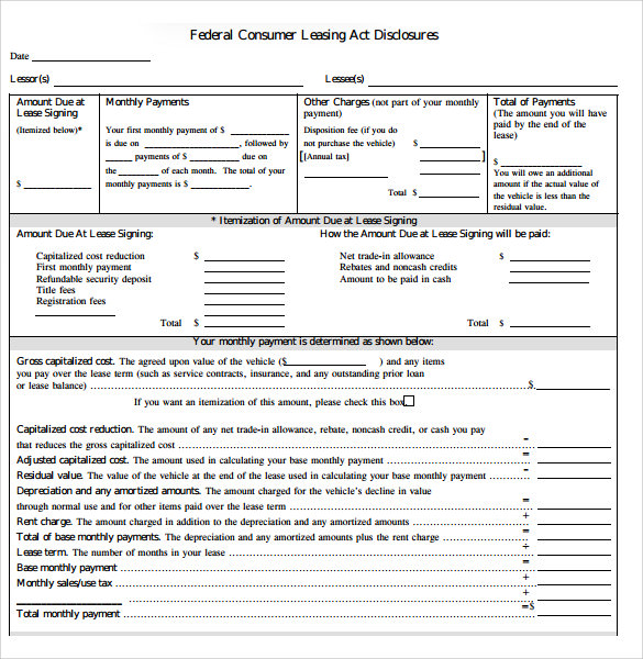 Sample Car Lease Agreement Free Documents Download In Pdf Word
