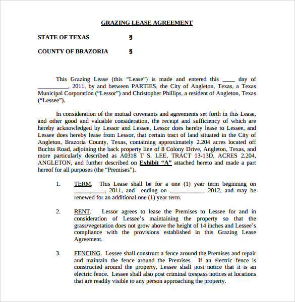 Sample Pasture Lease Agreement 5 Documents In Pdf Word