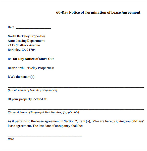 60 day notice of termination of lease agreement - Notice To Terminate Lease Agreement