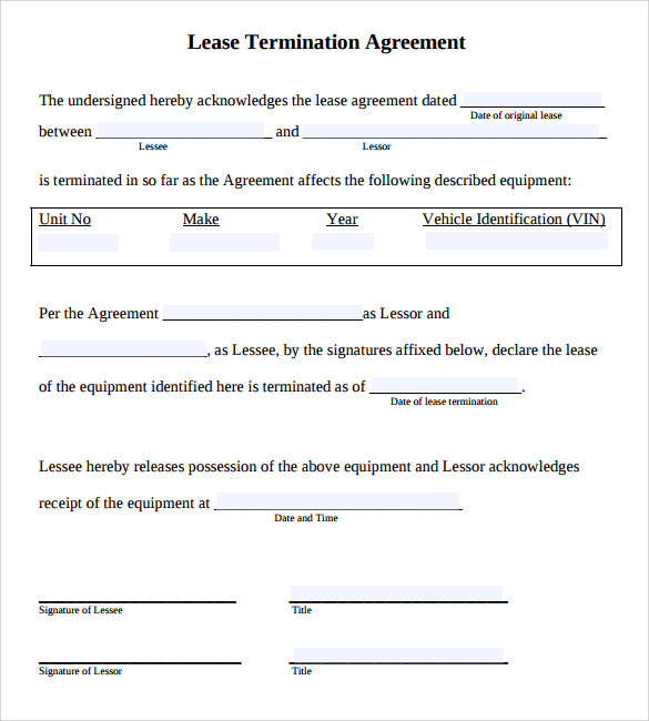 Sample Lease Termination Agreement  Free Documents Download In Word