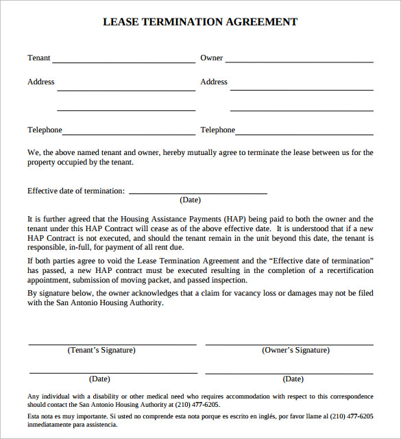 Sample Lease Termination Agreement