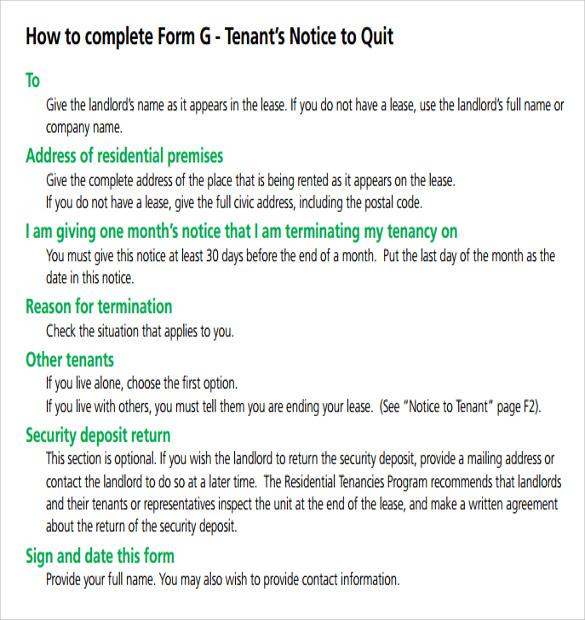 tenant's notice to quit