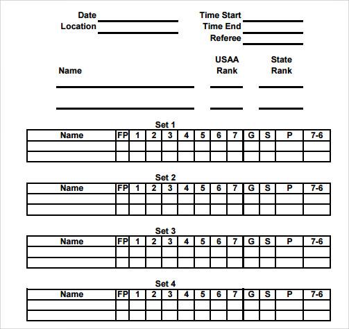 hockey game score card