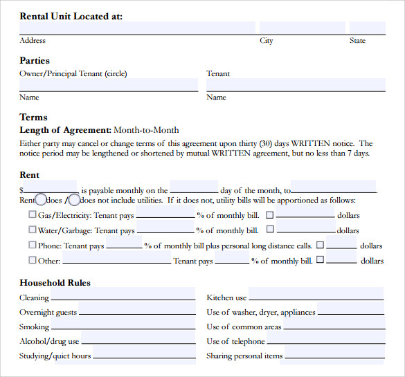 Room Lease Agreement Template  Lease Agreement Printable