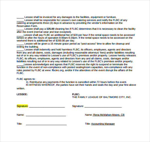 simple room lease agreement