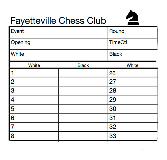 Sample Chess Score Sheet   Free Documents Download In Pdf Word