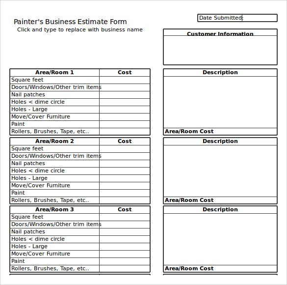 project estimate template